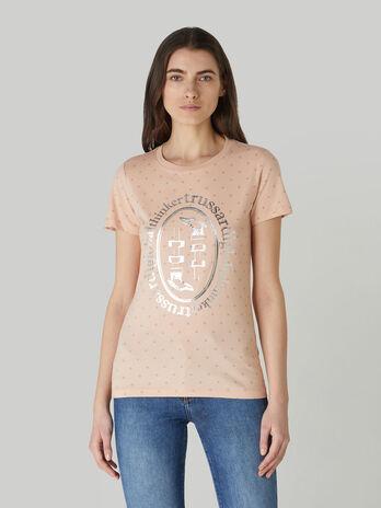 T-Shirt im Slim-Fit aus getupftem Baumwolljersey