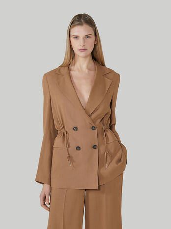 Viscose fabric blazer with drawstring