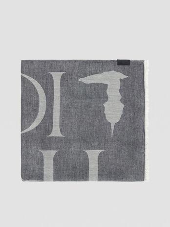Modal-blend pashmina with maxi-logo