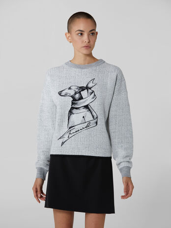 Crew neck viscose and wool pullover