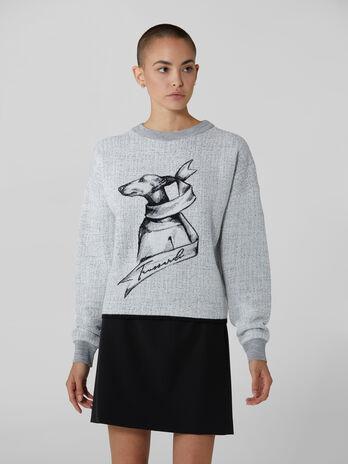 Pullover girocollo in viscosa e lana
