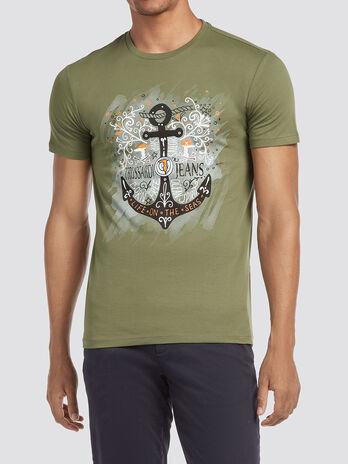 Melange T shirt with anchor print
