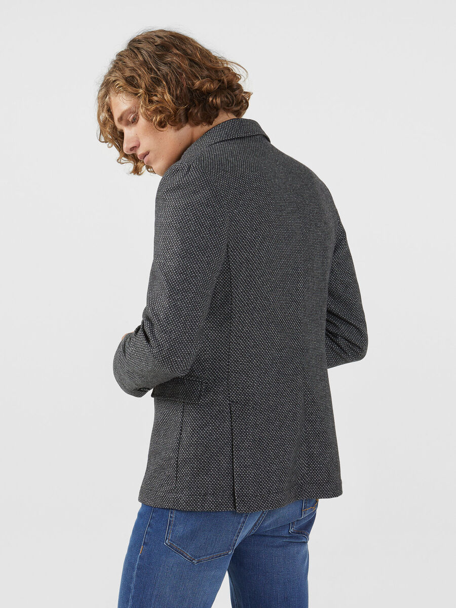 Regular fit wool blend blazer with a micro texture