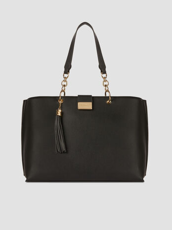 Large Amsterdam shopper in solid colour faux leather