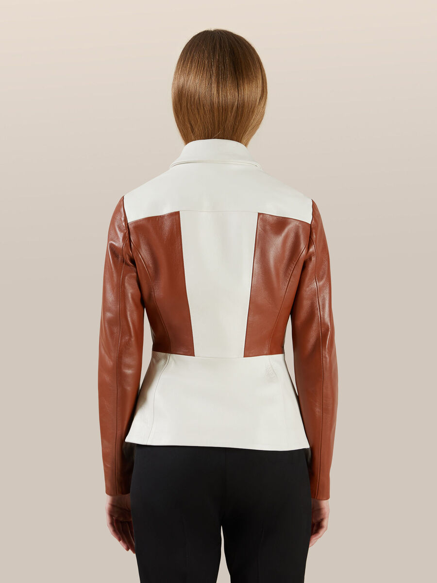 Slim fit two tone leather jacket