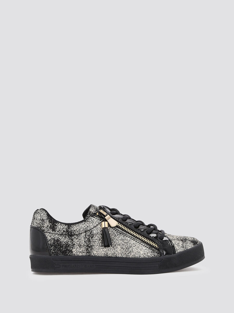 Sneakers with glittery python print film