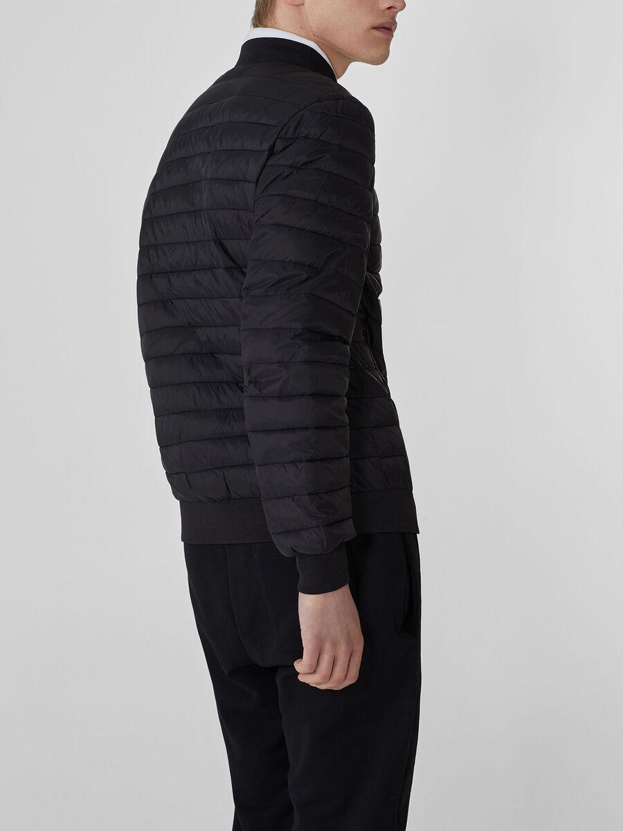 Matte-effect light nylon bomber jacket