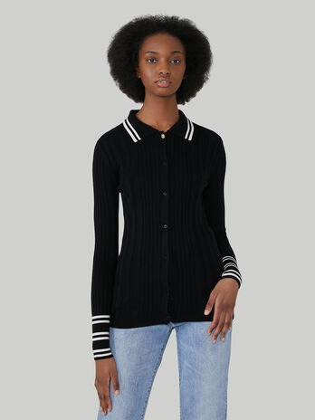 Slim-fit ribbed cardigan in wool and silk