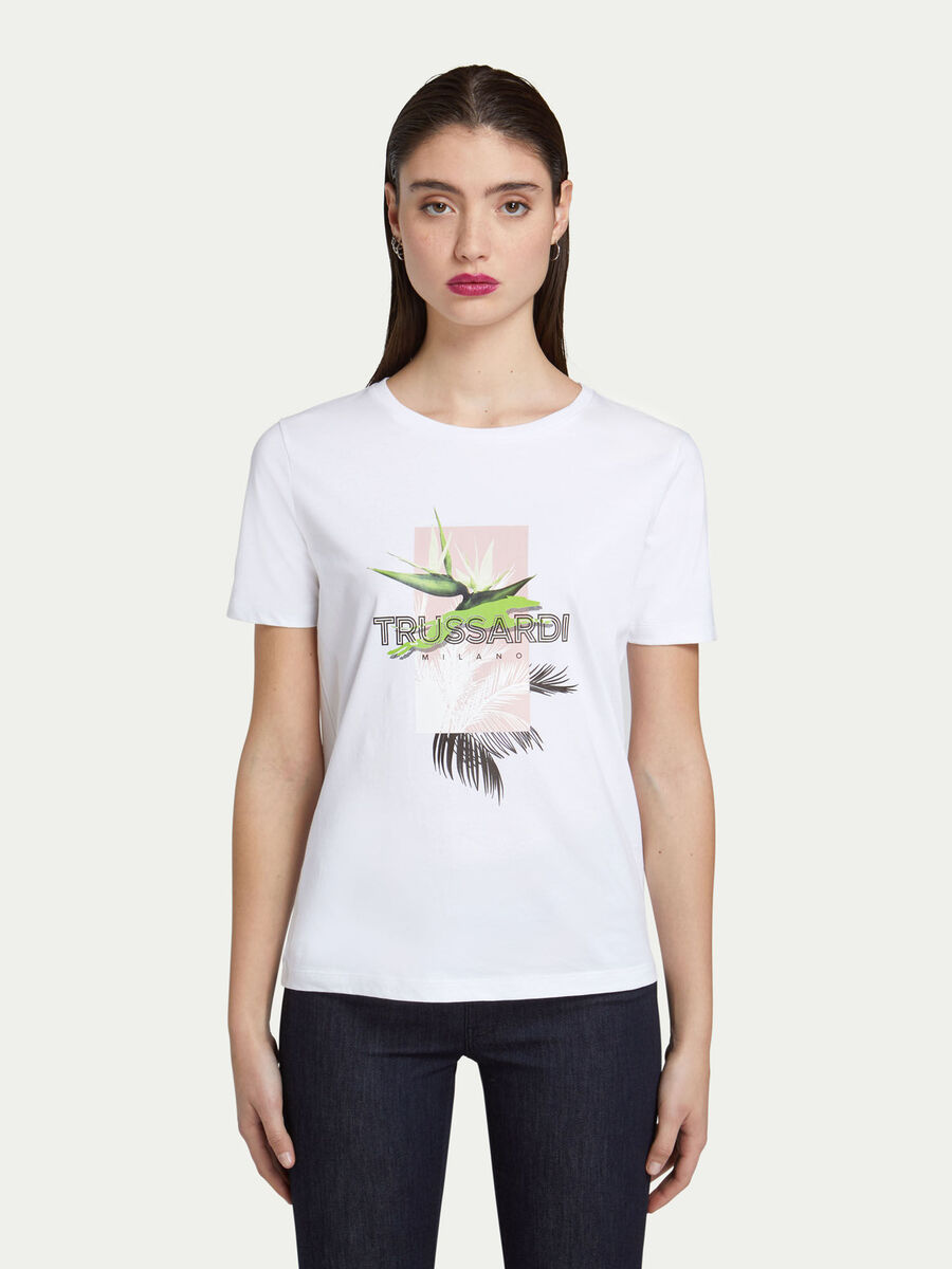 T-shirt regular fit in jersey con stampa floreale