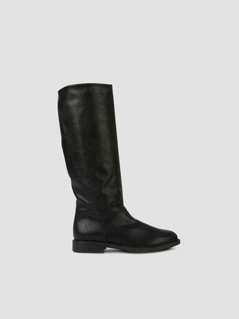 Smooth faux leather boots
