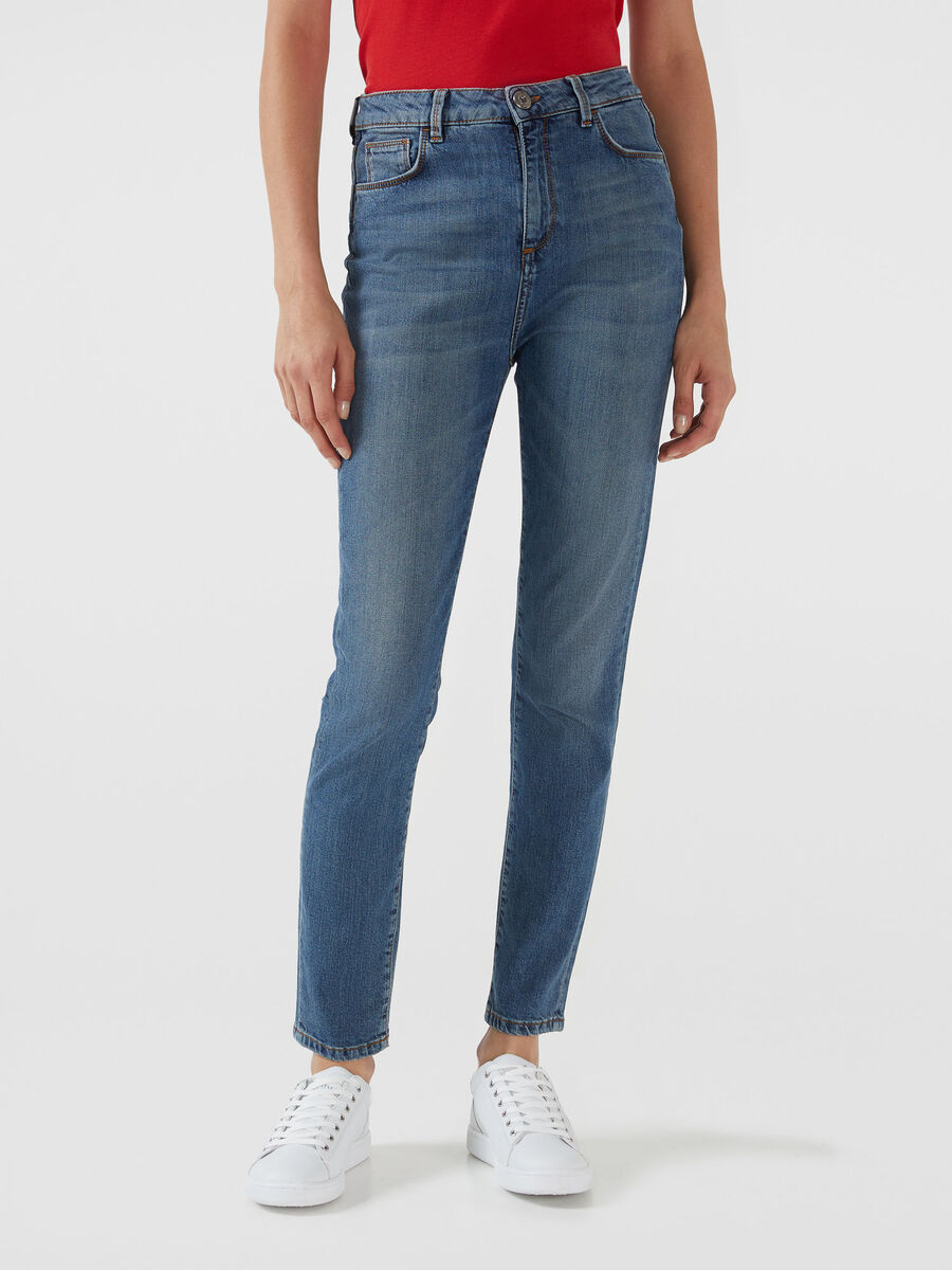 High waisted 208 Sophie jeans in blue denim