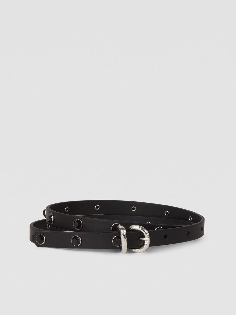 Leather T-Easy Diamonds belt with gemstones