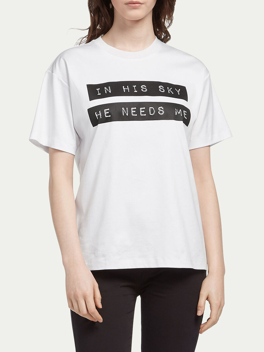Interlock T shirt with lettering print