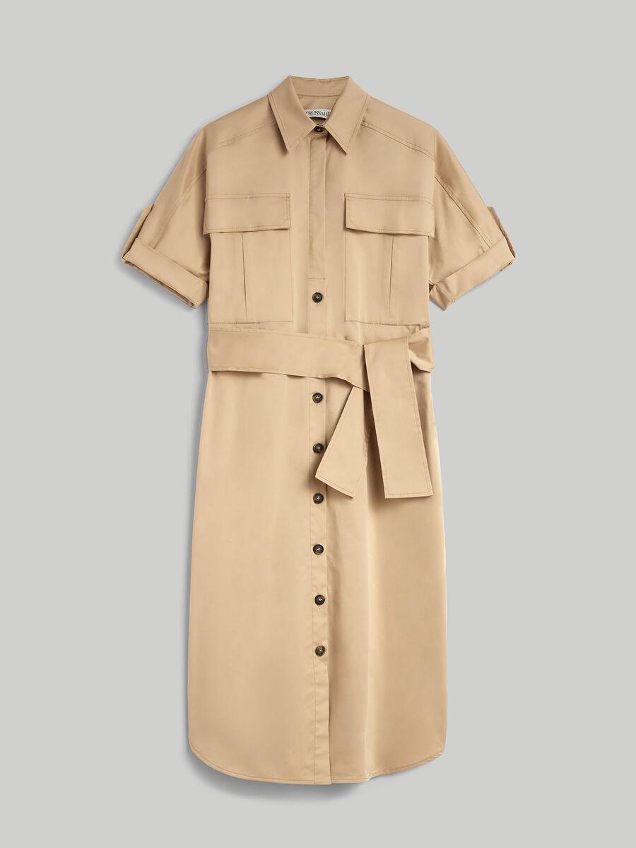 Gabardine shirt dress with pockets