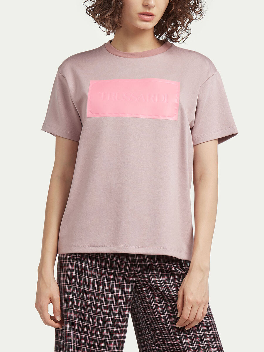 Jersey T shirt with debossed logo