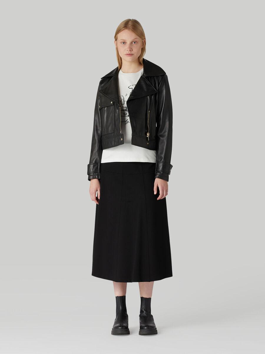 Jersey midi skirt with horsebit detail