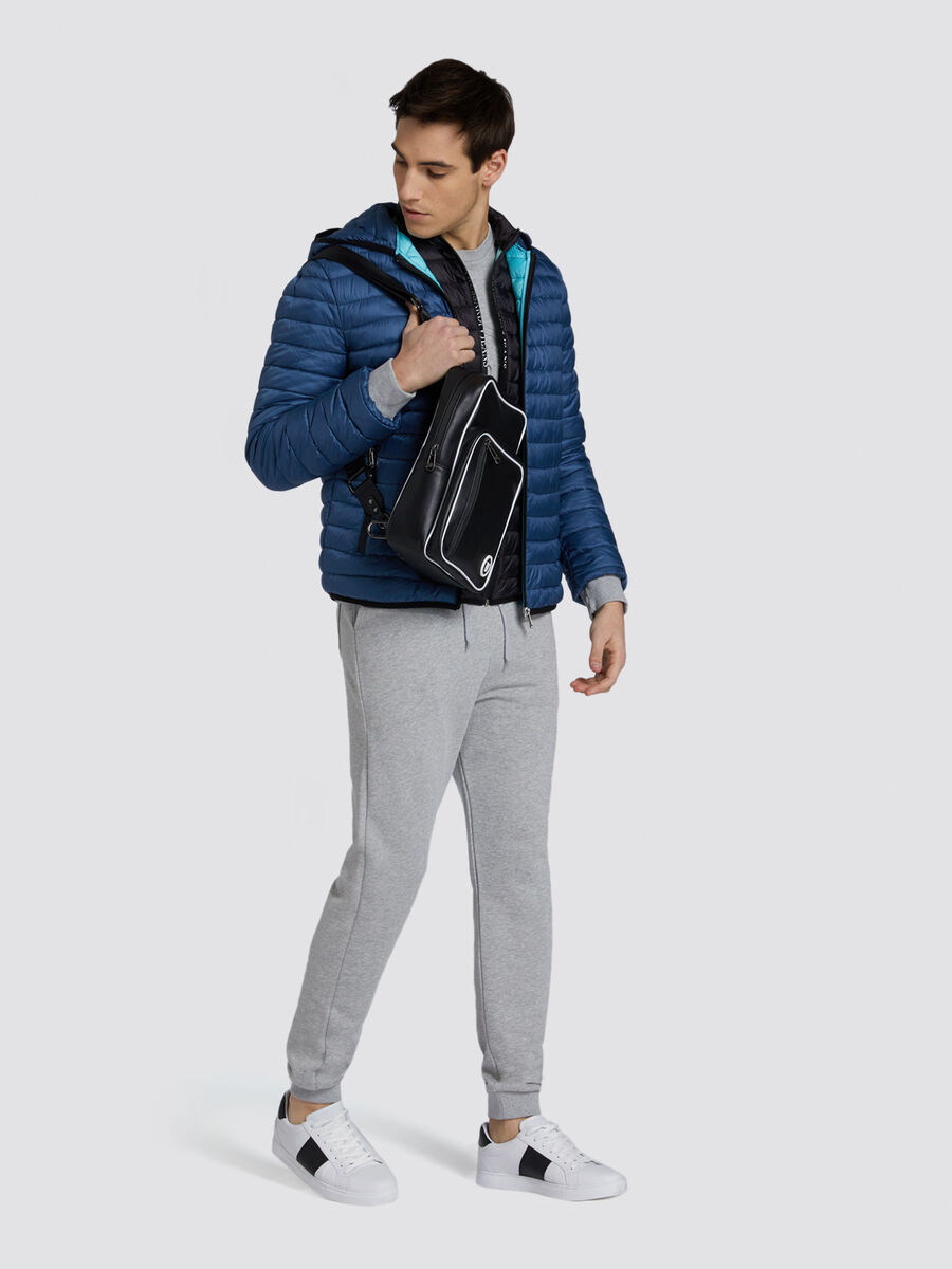 Regular fit nylon down jacket with hood