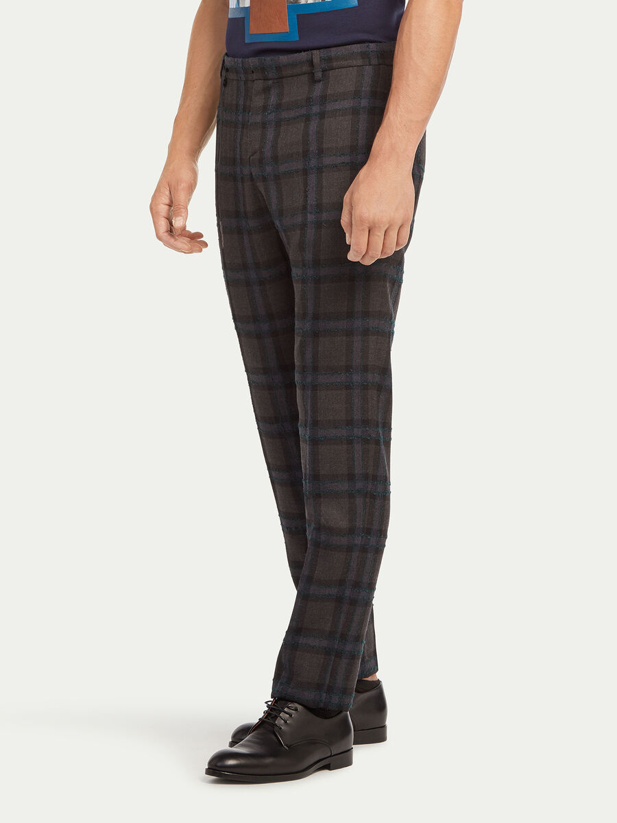 Flocked chequered trousers
