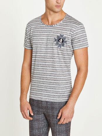 T shirt girocollo a righe con patch