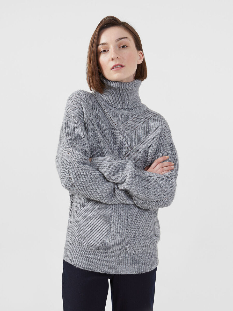 Regular fit ribbed alpaca blend pullover