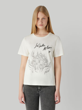 Regular-fit jersey T-shirt with Milano print