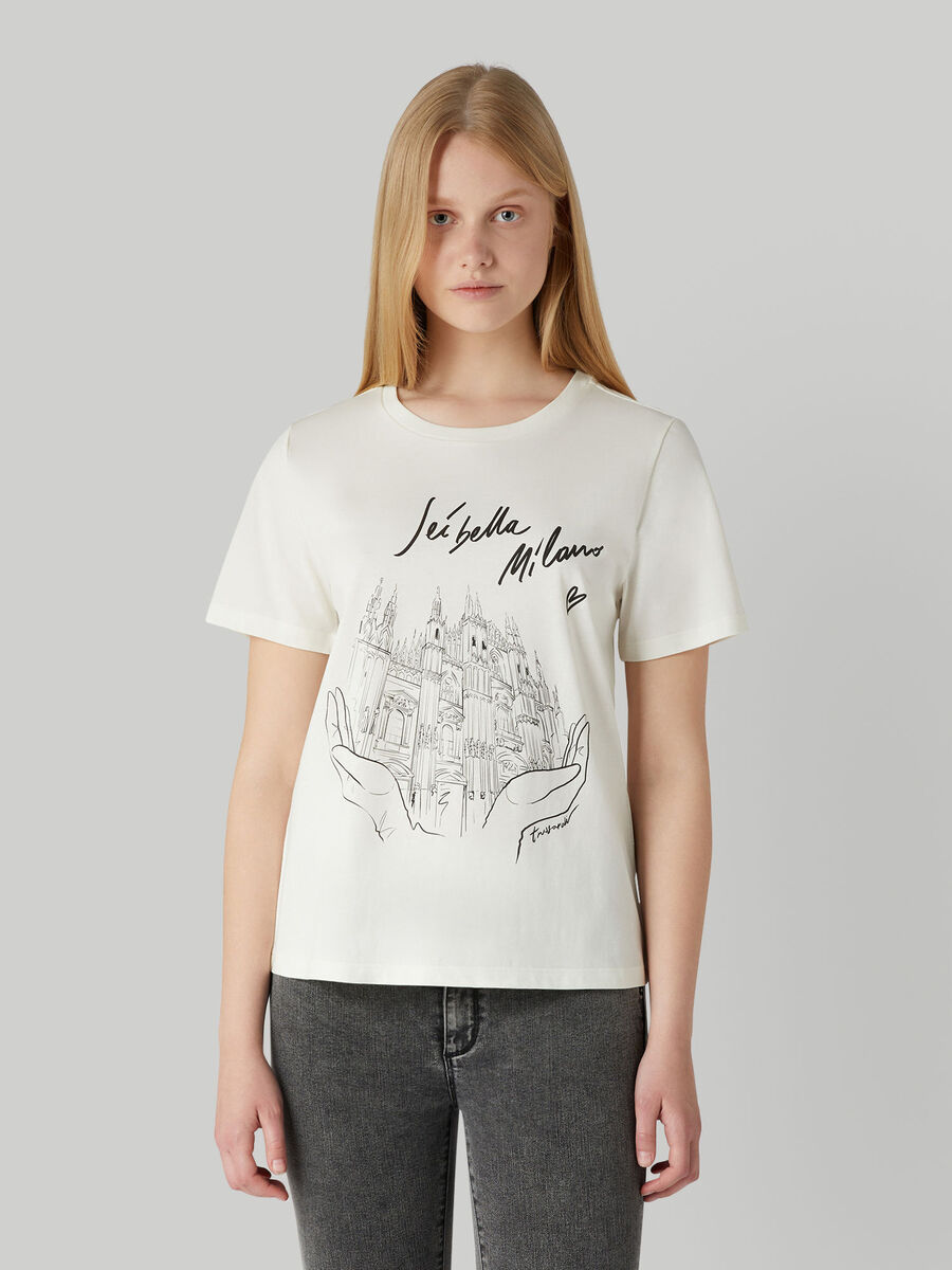 T-shirt regular fit in jersey con stampa Milano