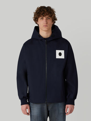 Technical cotton jacket with hood
