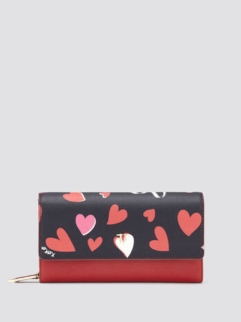 Heart print purse with flap