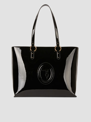 Large patent leather shopper