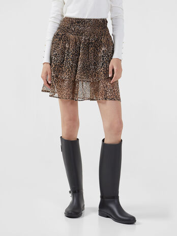 Georgette skirt with animalier print
