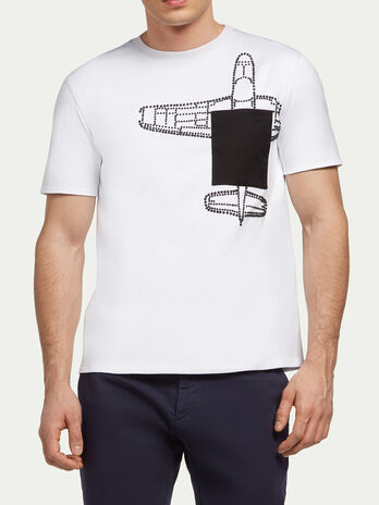 Studded interlock T shirt with airplane detail