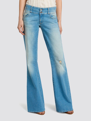 Seasonal two button bell bottom jeans distressed denim