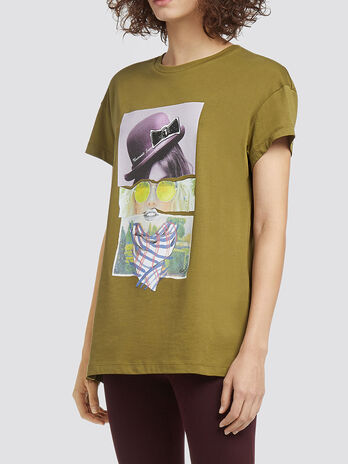 T shirt chine a imprime logo