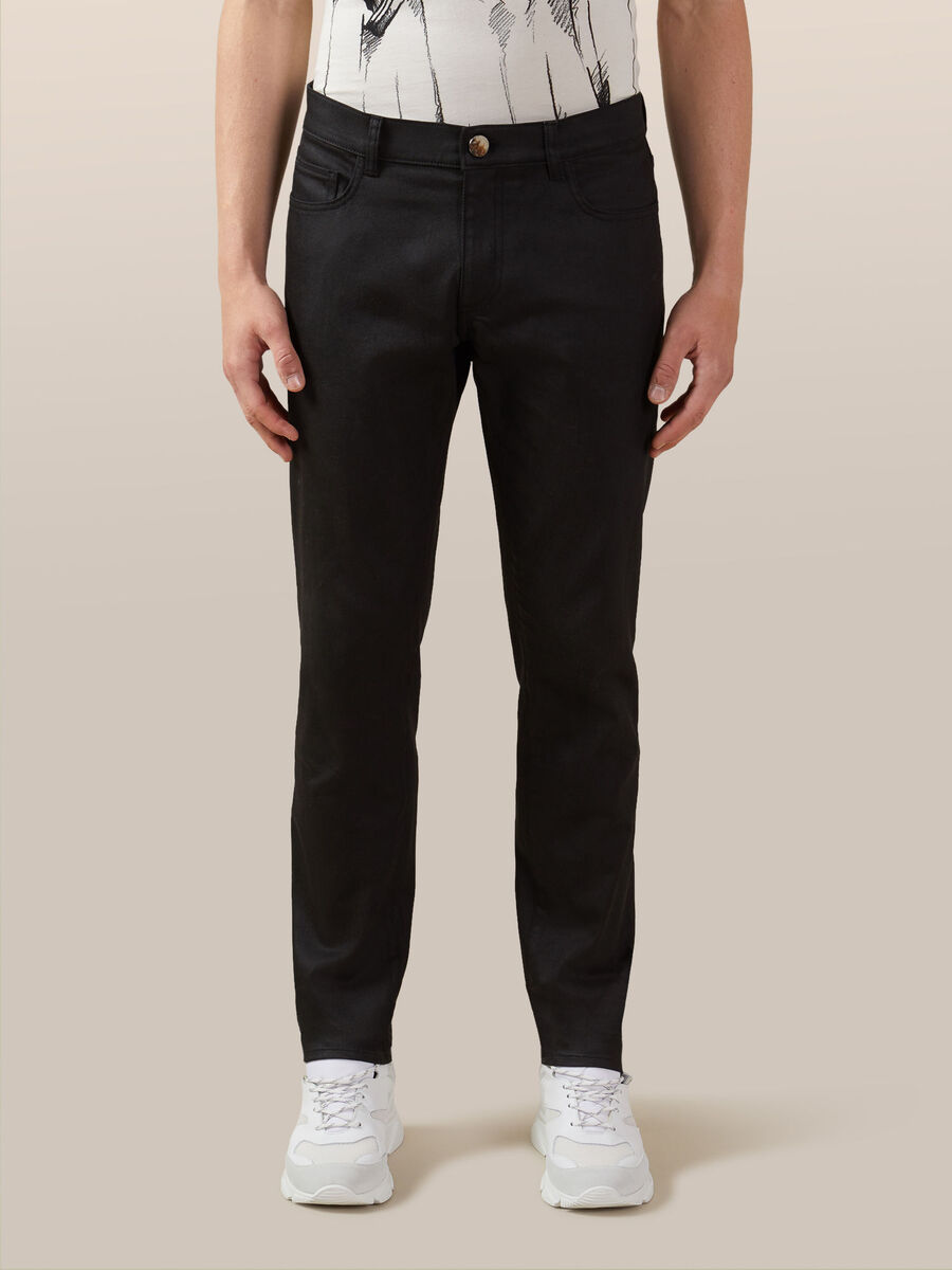 Slim fit jeans in spark effect black denim
