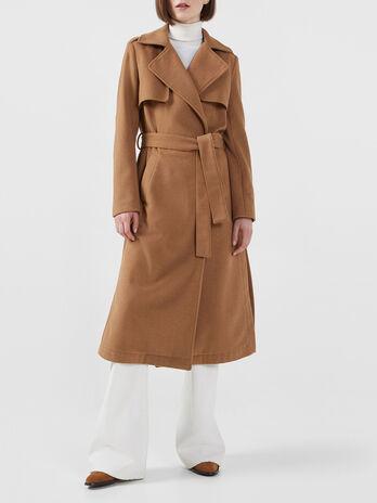 Cappotto lungo in tessuto con cintura