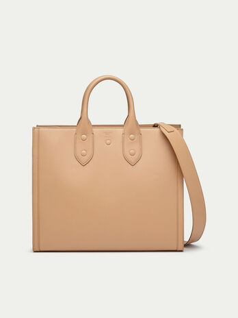 Medium shopping bag in leather