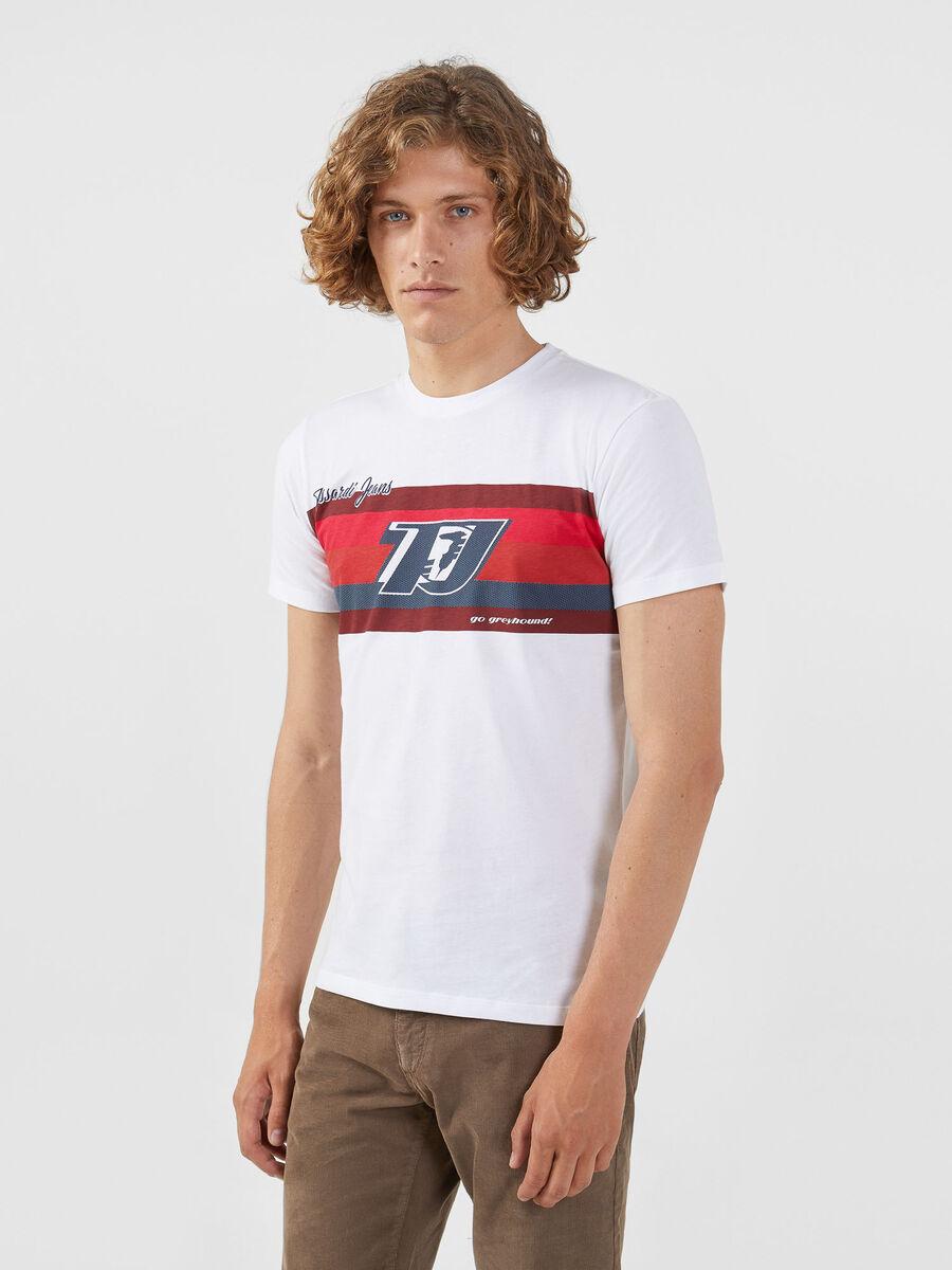 T-shirt coupe classique en jersey a bande contrastante
