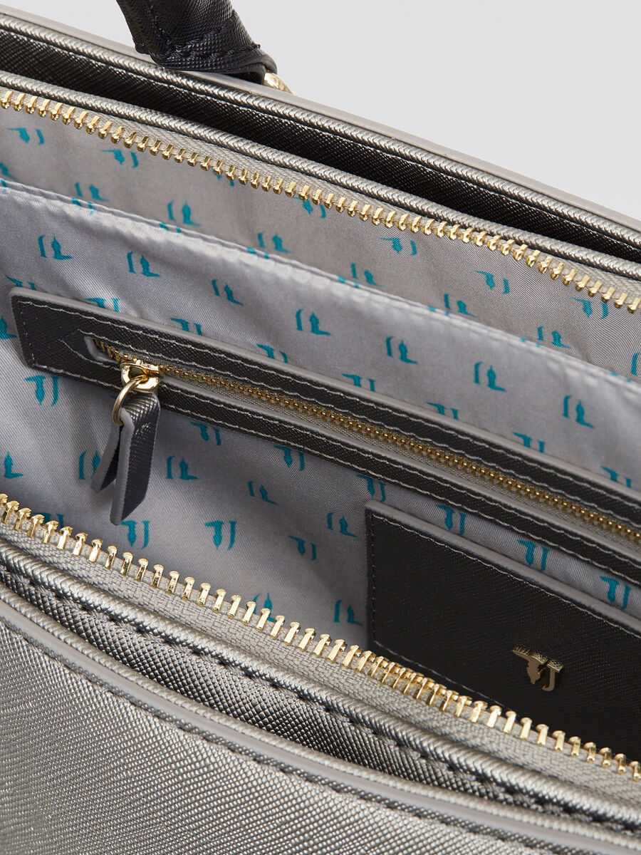 Shopping bag Ischia effetto saffiano logata