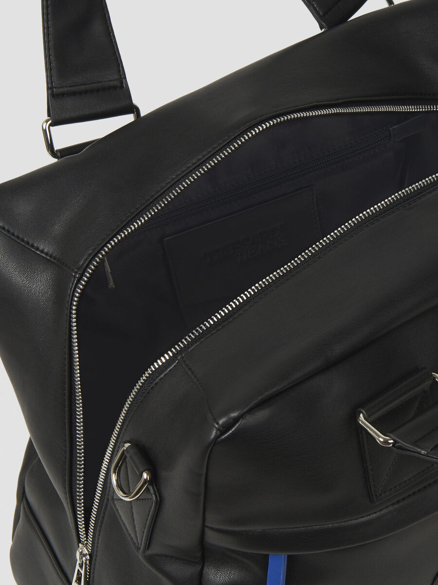 Faux leather carry-all with logo patch