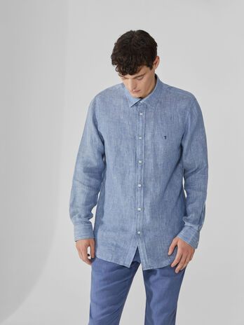 Close-fit shirt in melange linen