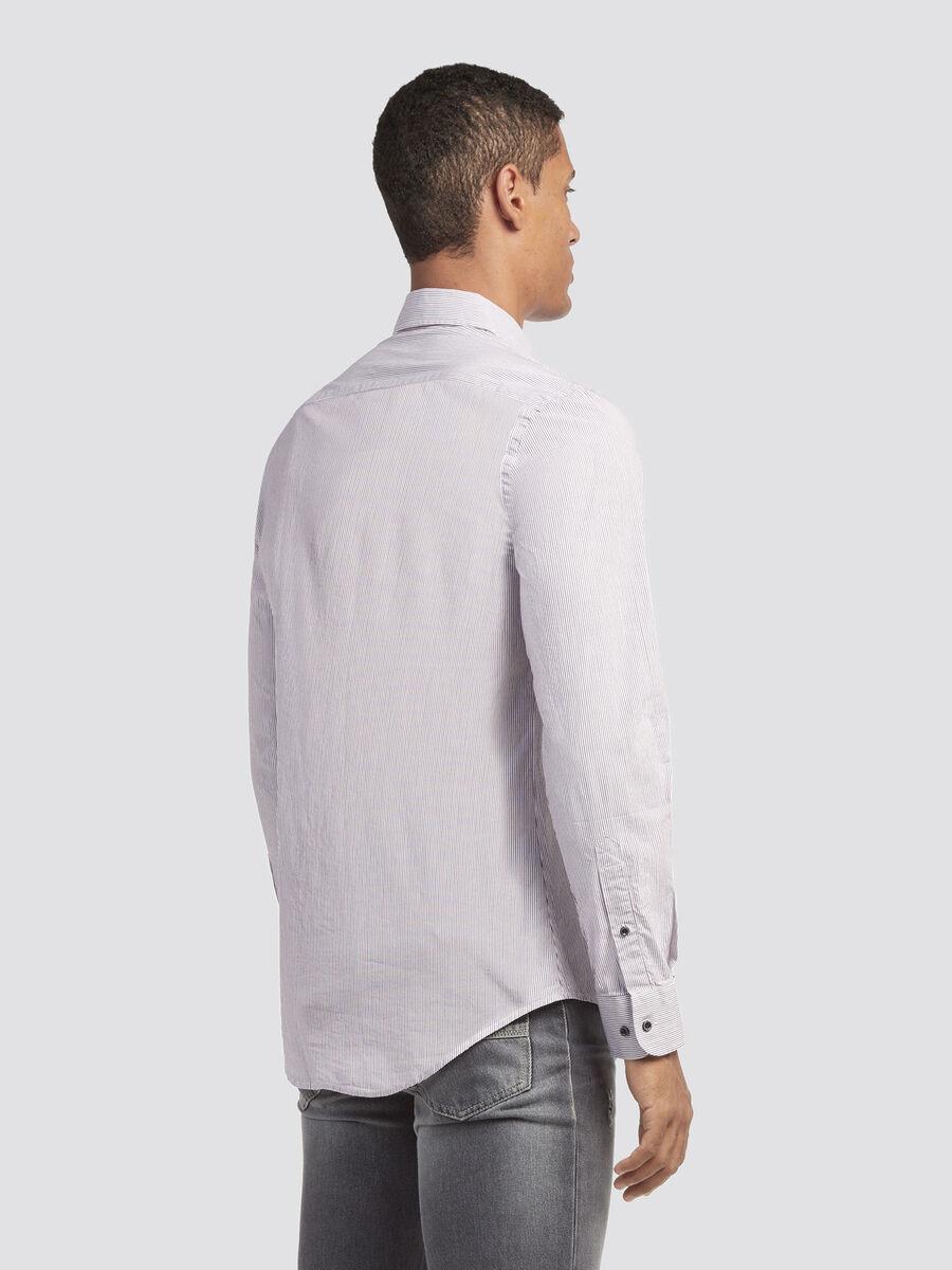 Camicia close fit a micro righe