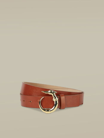 Leather Lovy belt with Levriero buckle