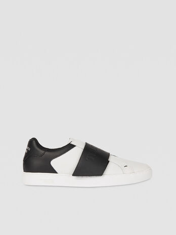 Two tone leather sneakers with maxi strap