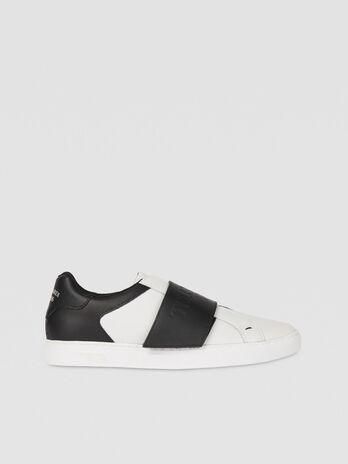 Sneaker in pelle bicolor con maxi strap