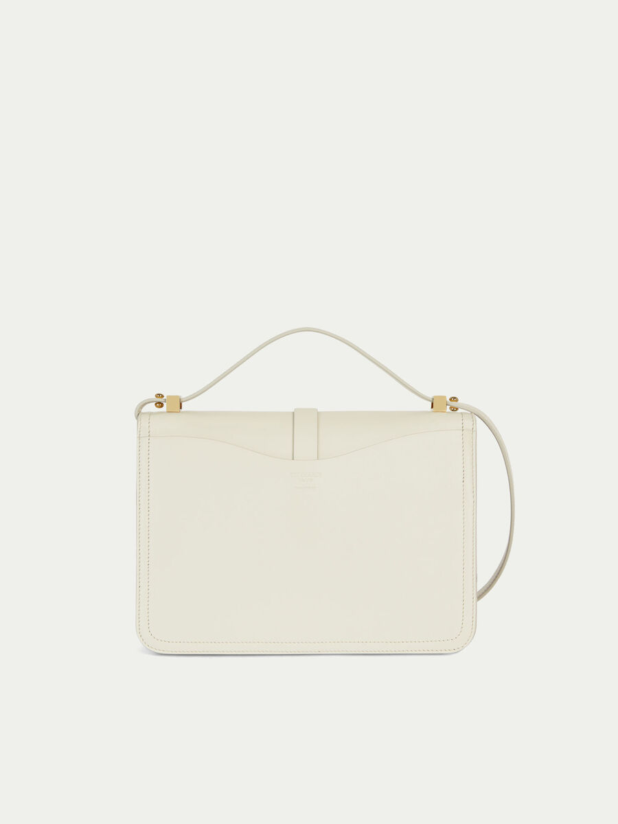 Leila midi leather shoulder bag with levriero