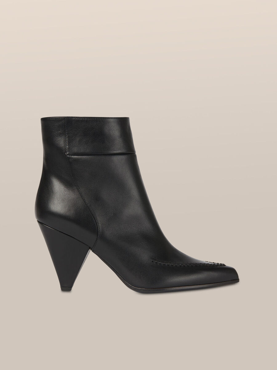 Leather ankle boots with cone heel