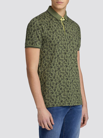 Regular fit cotton polo shirt with cactus pattern