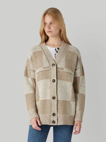 Cardigan in mista lana con motivo a quadri