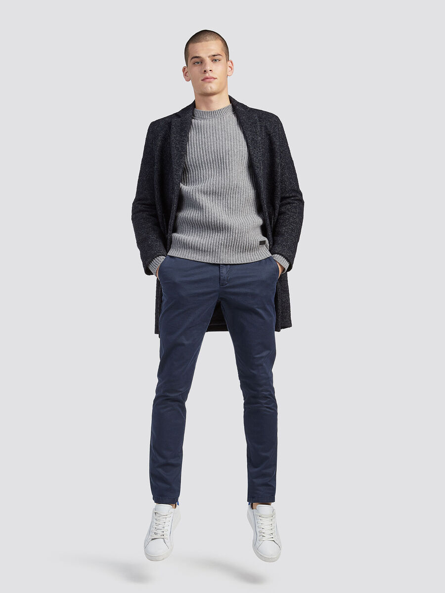 Aviator trousers with micro chequered design