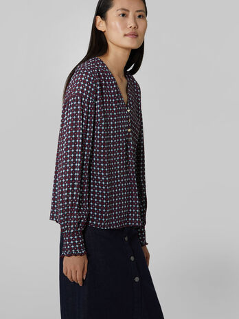 Printed viscose crepe blouse